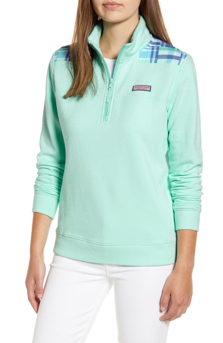 VINEYARD VINES Madras Patchwork Classic Shep Pullover, Main, color, CRYSTAL BLUE