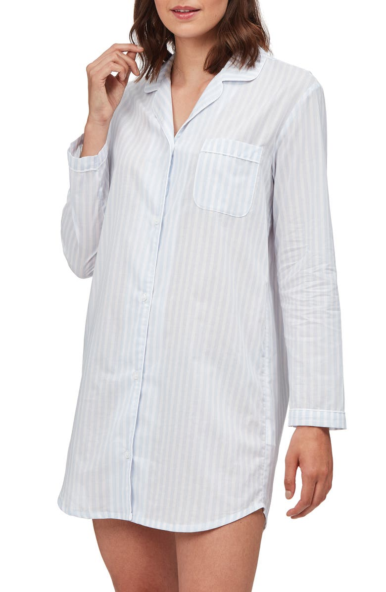 THE WHITE COMPANY Stripe Cotton Voile Nightshirt, Main, color, IVORY/ BLUE STRIPE
