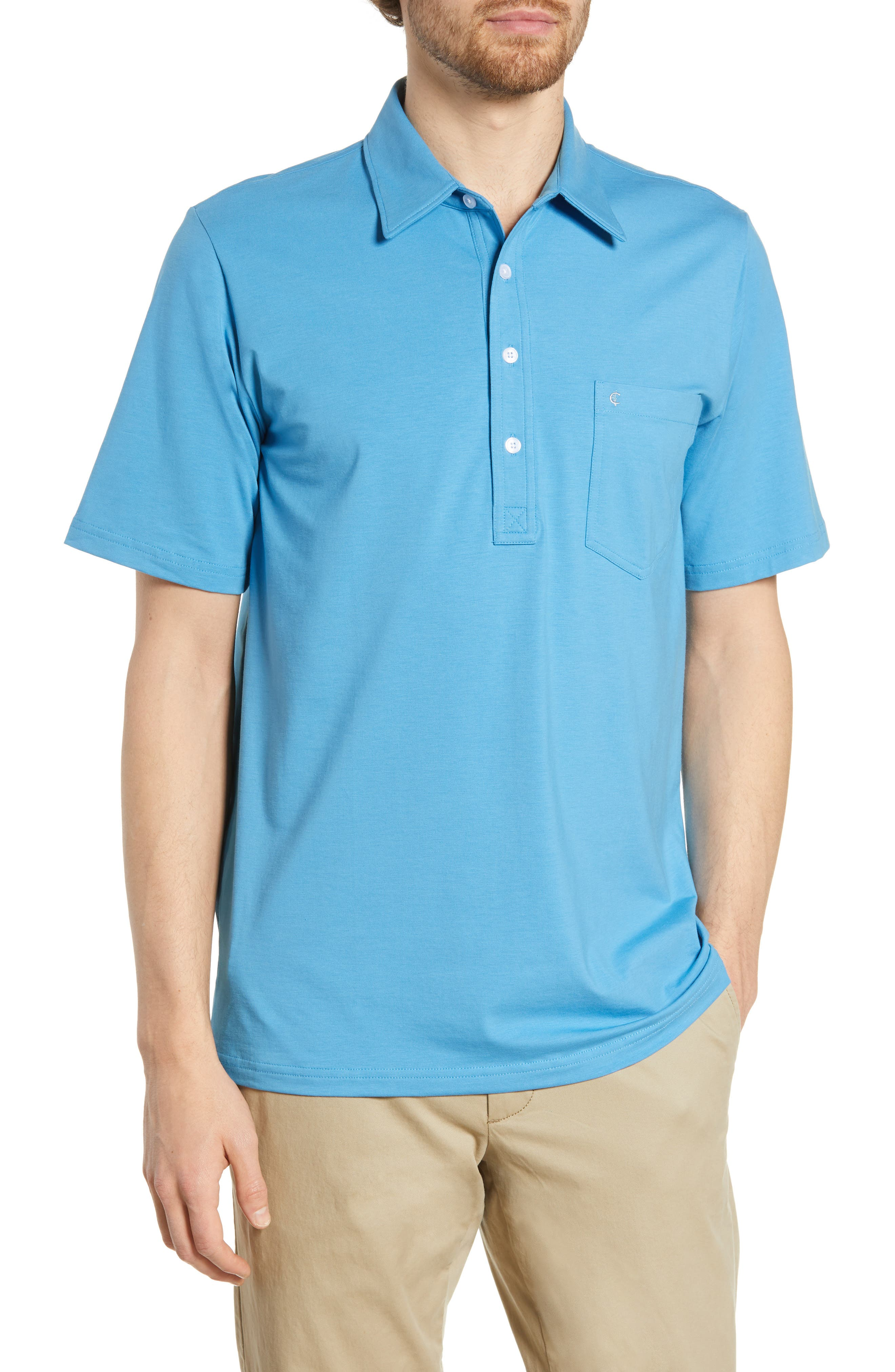 Criquet Players Stretch Jersey Polo, Blue