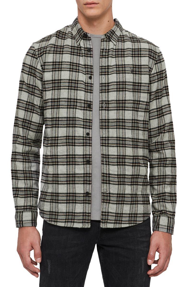 ALLSAINTS Gaines Plaid Button-Up Flannel Shirt, Main, color, GREY MARL