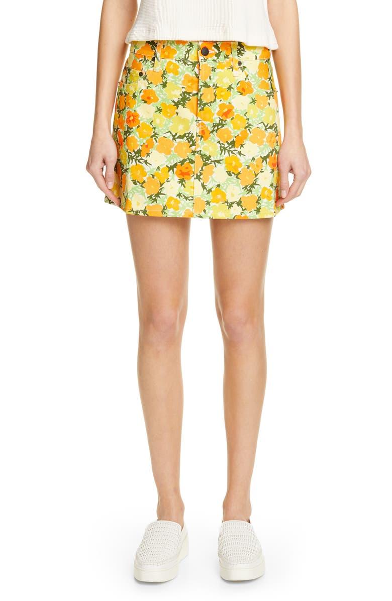 SIMON MILLER Floral Print Denim Miniskirt, Main, color, 300