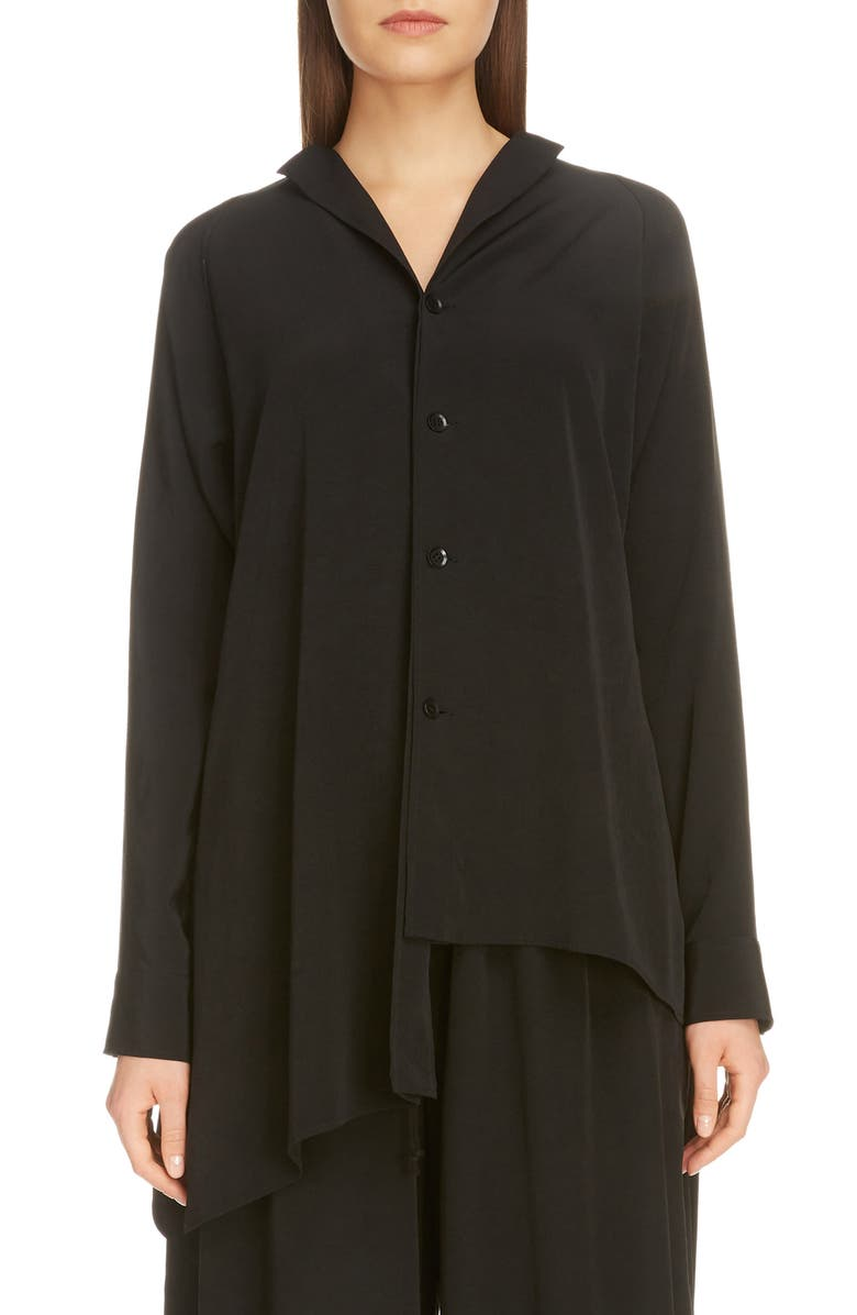 Y'S BY YOHJI YAMAMOTO Unbalanced Crepe Blouse, Main, color, BLACK
