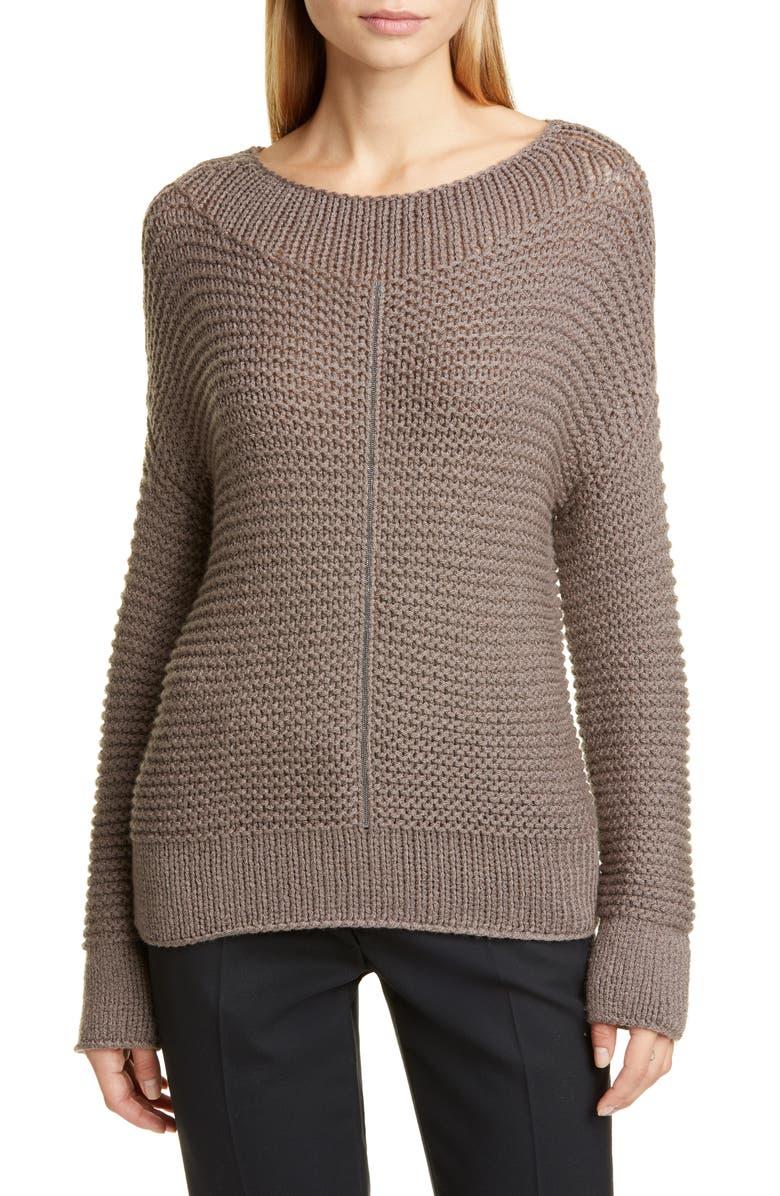 FABIANA FILIPPI Chain Trim Popcorn Stitch Wool Blend Sweater, Main, color, BROWN