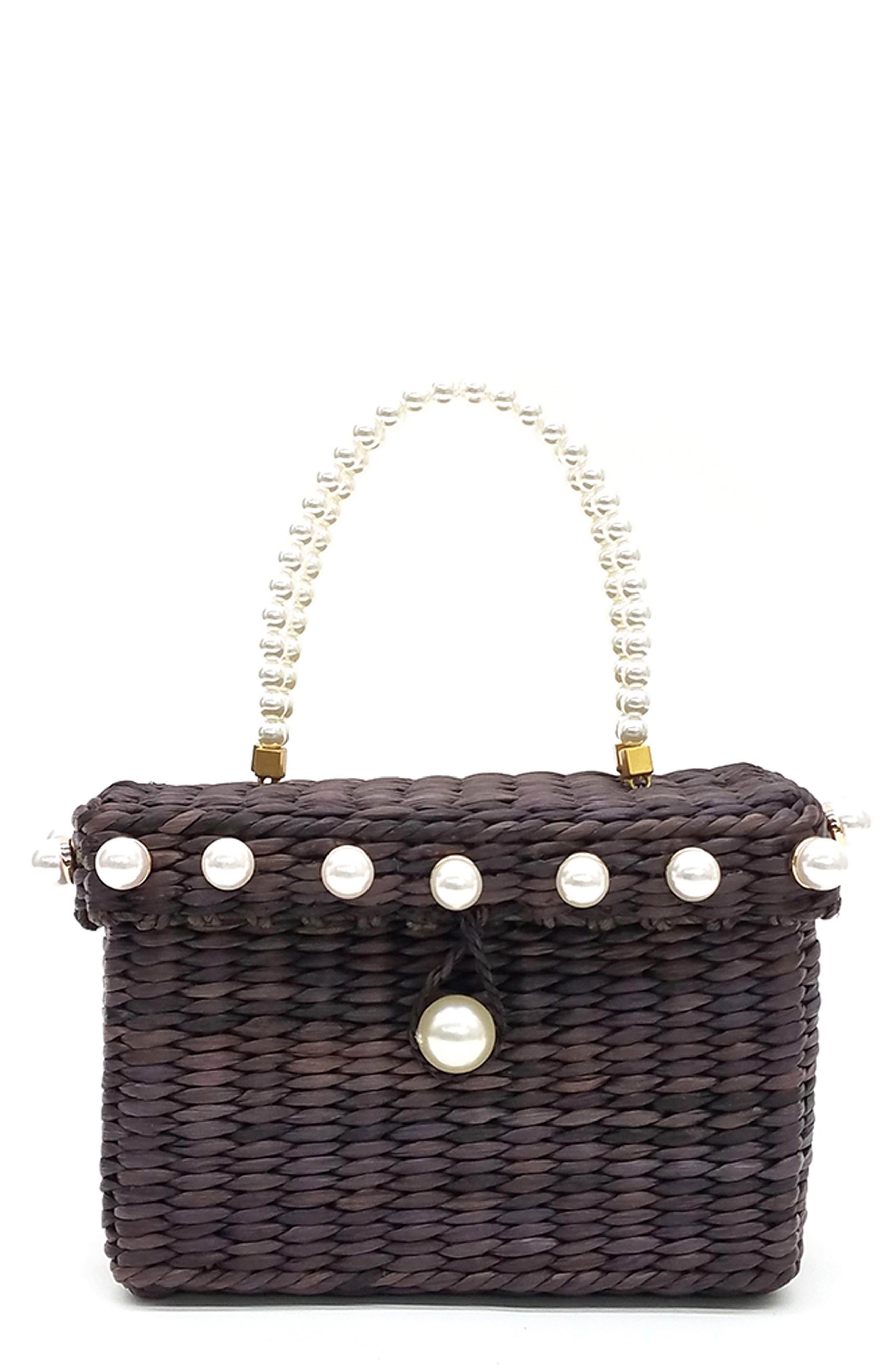 Peggy Woven Corn Husk Top Handle Basket Bag