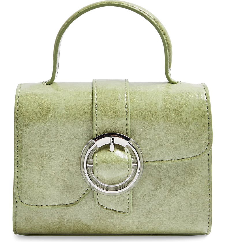 TOPSHOP Mini Mia Faux Leather Crossbody Bag, Main, color, GREEN