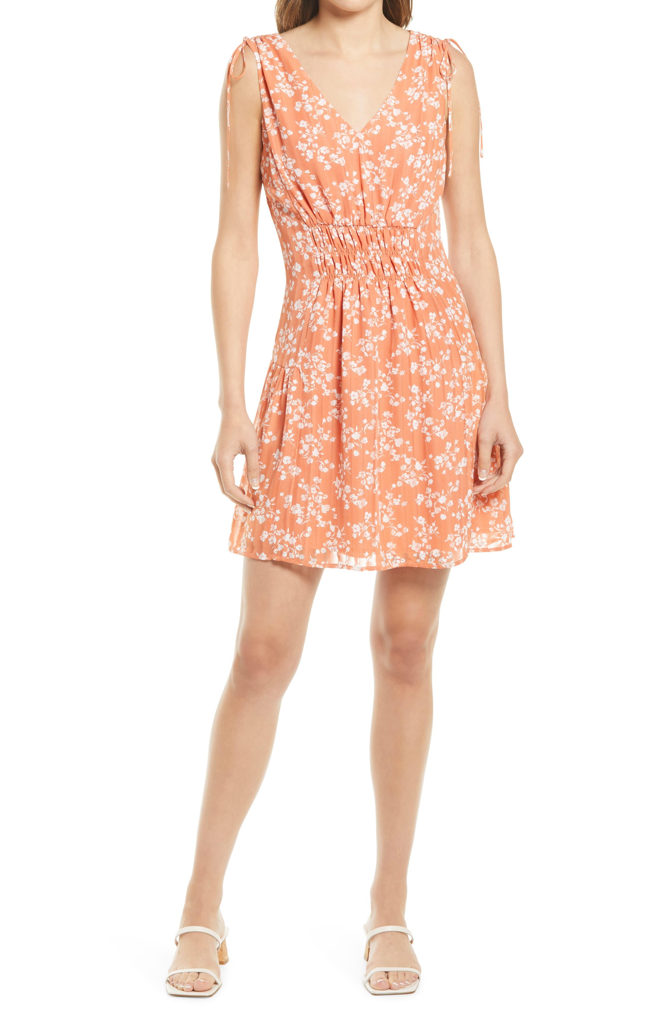Floral Tie Shoulder Dress