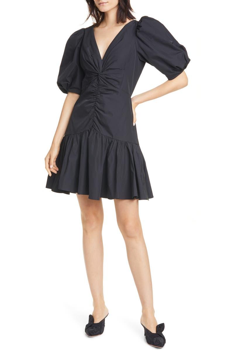 REBECCA TAYLOR Short Sleeve Taffeta Dress, Main, color, BLACK