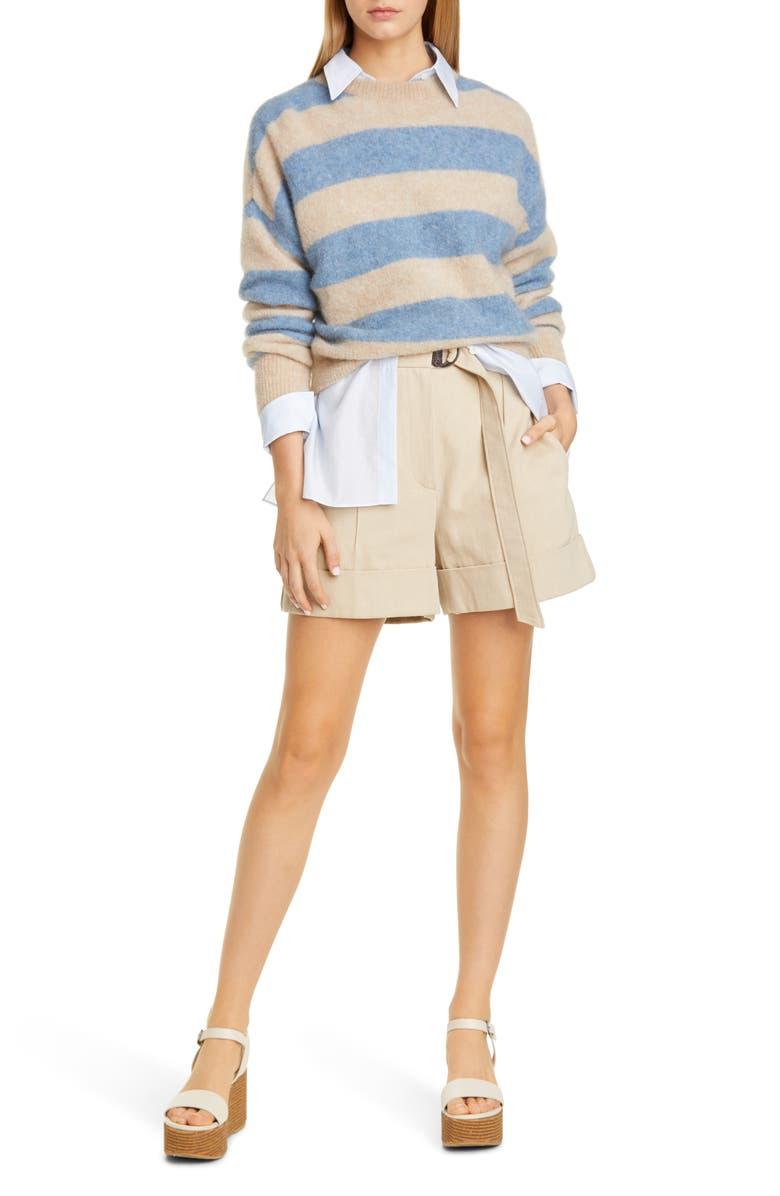 BRUNELLO CUCINELLI Belted Cotton & Linen Denim Shorts, Main, color, 250