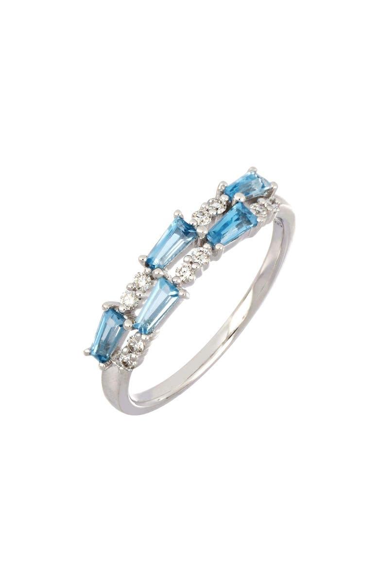 BONY LEVY Two-Row Blue Topaz & Diamond Ring, Main, color, WHITE GOLD/ BLUE TOPAZ