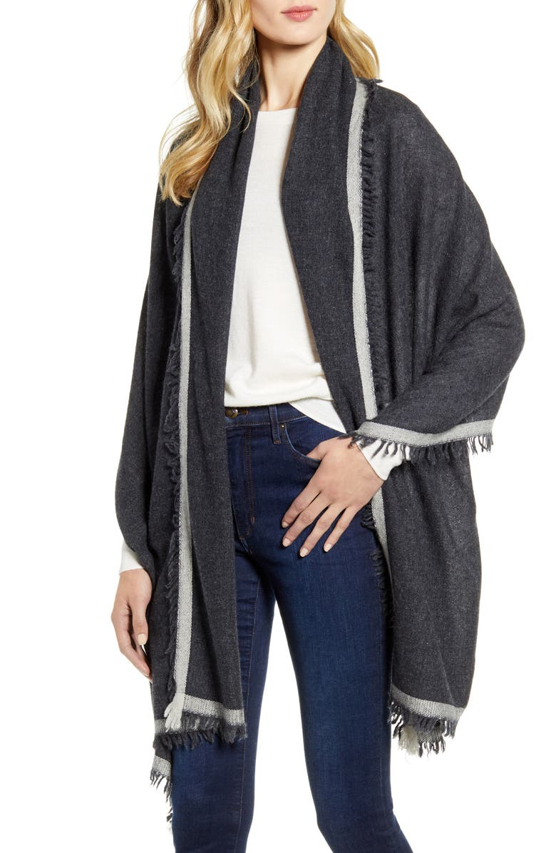 NORDSTROM Border Cashmere Wrap, Main, color, GREY CHARCOAL COMBO