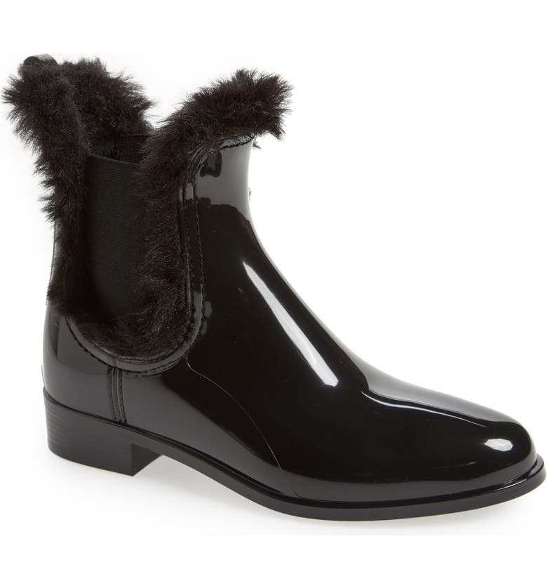 LEMON JELLY Aisha Waterproof Chelsea Boot with Faux Fur Lining, Main, color, 001