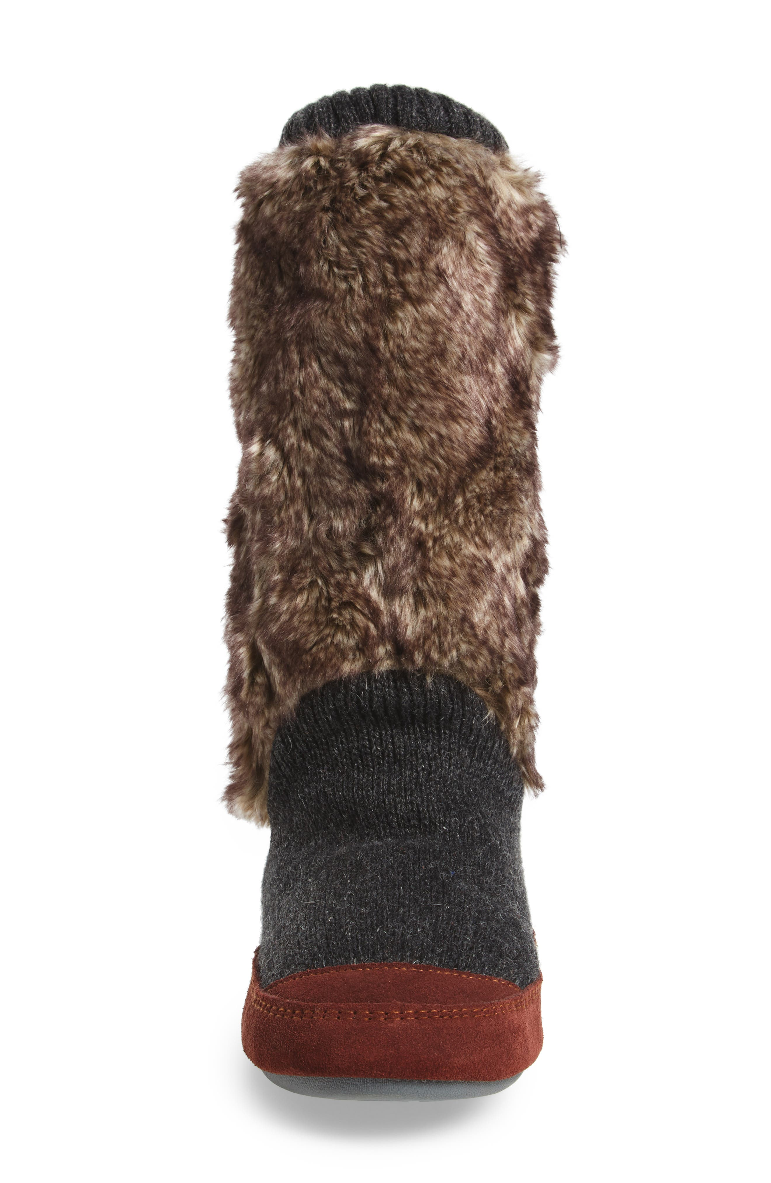 ,                             Slouch Slipper Boot,                             Alternate thumbnail 4, color,                             CHARCOAL FAUX FUR