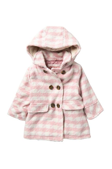 Image of Urban Republic Double Breasted Plaid Coat with Faux Fur Lined Hood