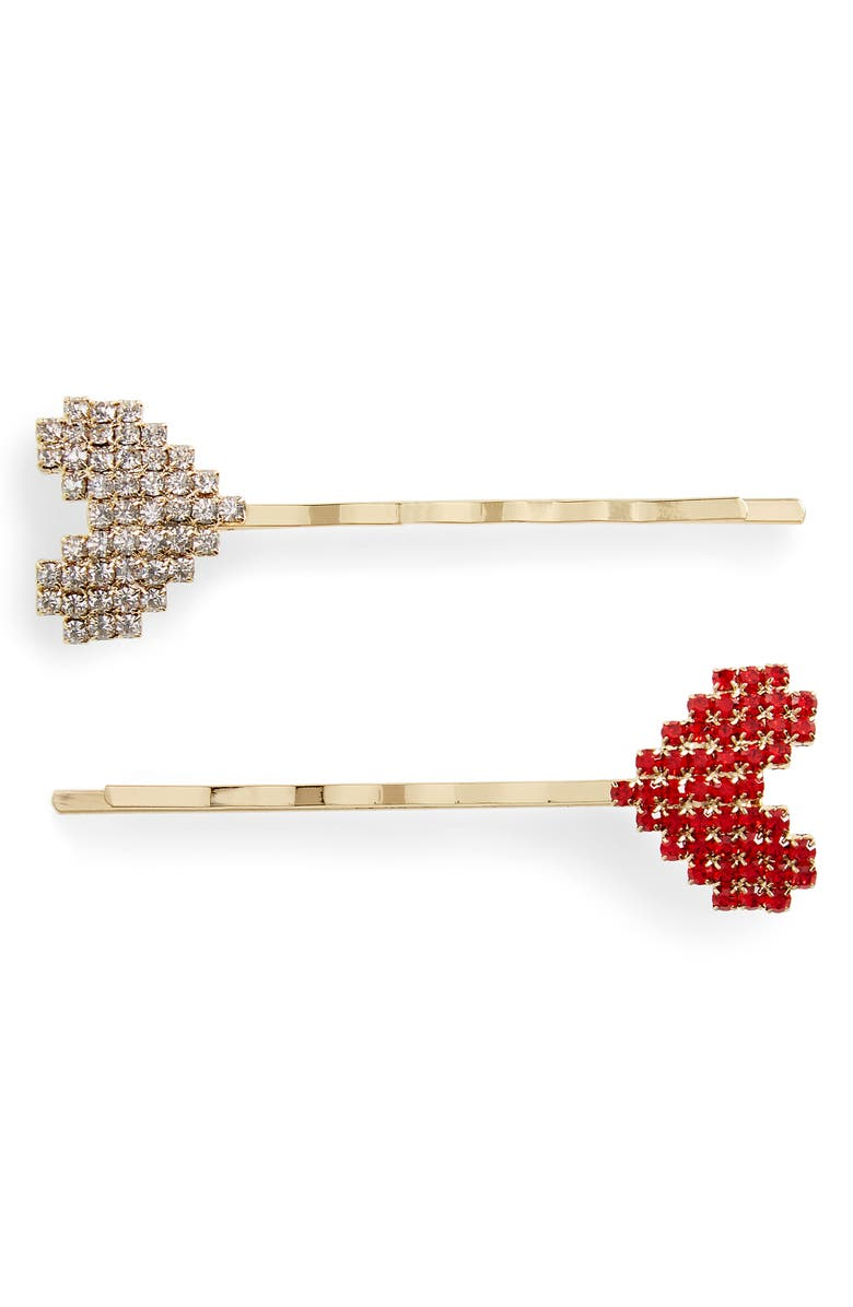 8 OTHER REASONS Ever After 2-Pack Crystal Bobby Pins, Main, color, GOLD