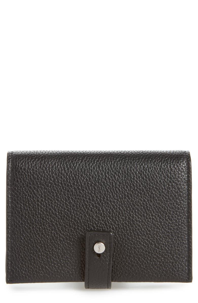 SAINT LAURENT Biz Sac de Jour Leather Card Case, Main, color, NERO