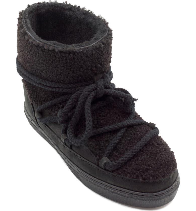 INUIKII Genuine Curly Shearling Sneaker Bootie, Main, color, BLACK