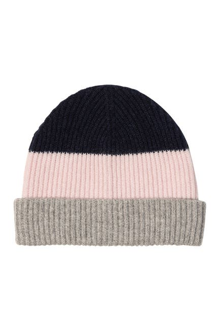 Image of AMICALE Cashmere Chunky Cuff Colorblock Beanie
