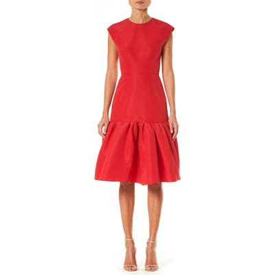 Carolina Herrera Tie Back Ruffle Hem Silk Dress, Red