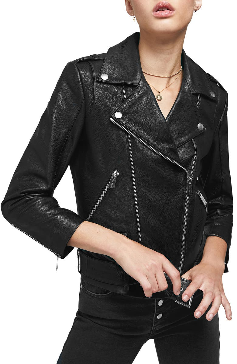 ANINE BING Cropped Leather Moto Jacket, Main, color, 001