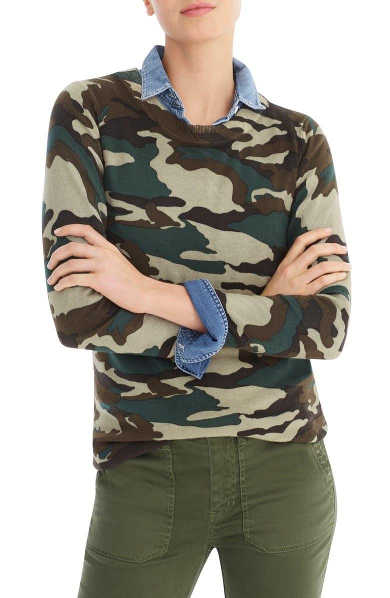 J.CREW Tippi Camo Sweater, Main, color, VINTAGE SURPLUS