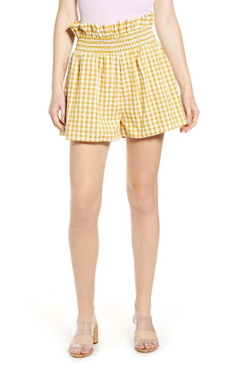 ENGLISH FACTORY Gingham Paperbag Waist Shorts, Main, color, YELLOW