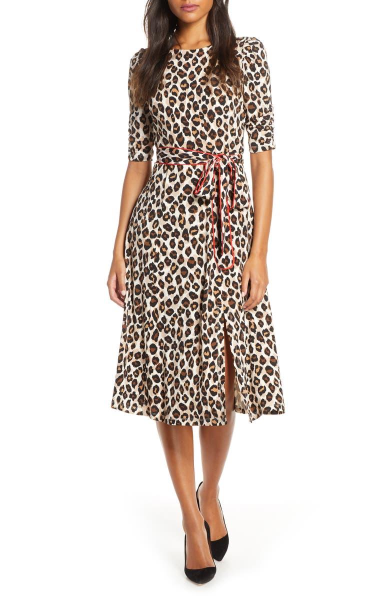ELIZA J Leopard Print Piped Sash Midi Dress, Main, color, ANIMAL