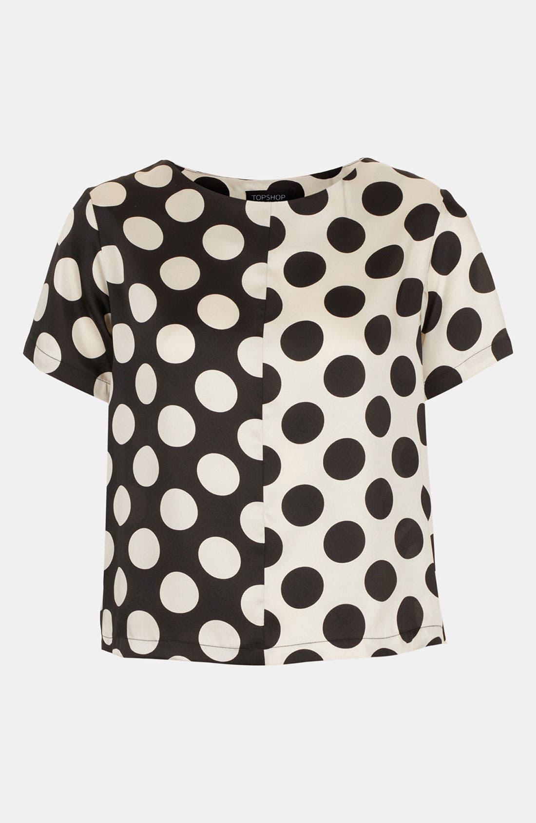 'Half & Half' Polka Dot Tee, Main, color, 001