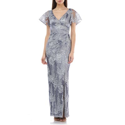 Js Collections Ruched Metallic Lace Gown, Grey