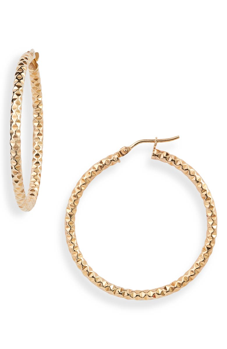 BONY LEVY Textured Hoop Earrings, Main, color, YELLOW GOLD