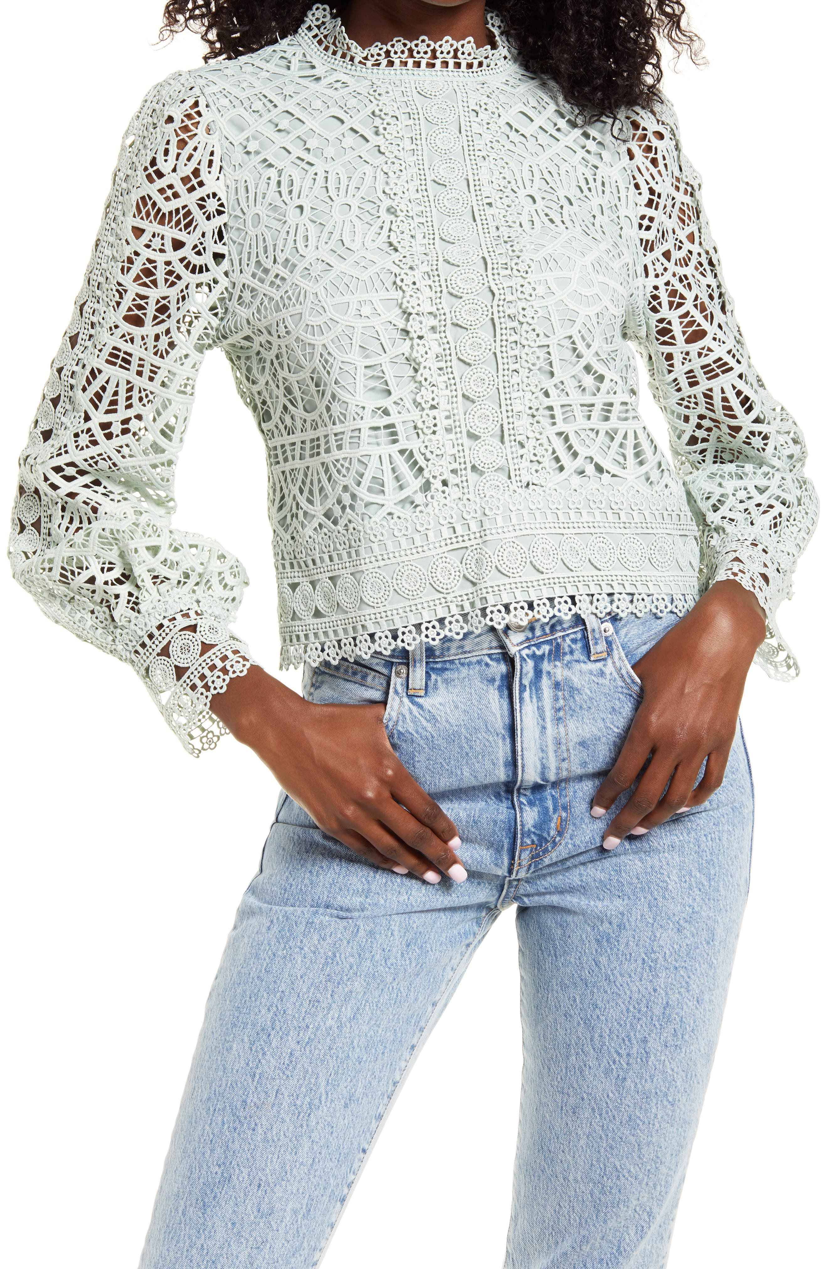 Crochet Lace Balloon Sleeve Blouse