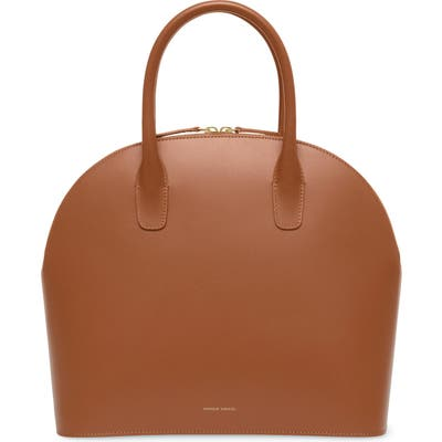 Mansur Gavriel Top Handle Rounded Leather Bag - Brown