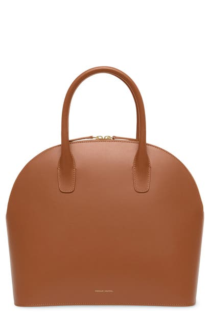 Mansur Gavriel Bags TOP HANDLE ROUNDED LEATHER BAG - BROWN