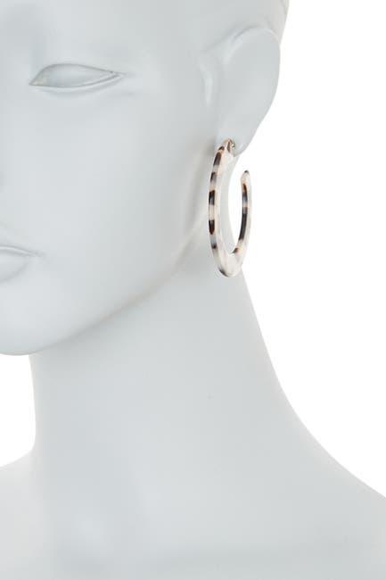 Image of Argento Vivo Marbled Resin Wide Hoop Earrings