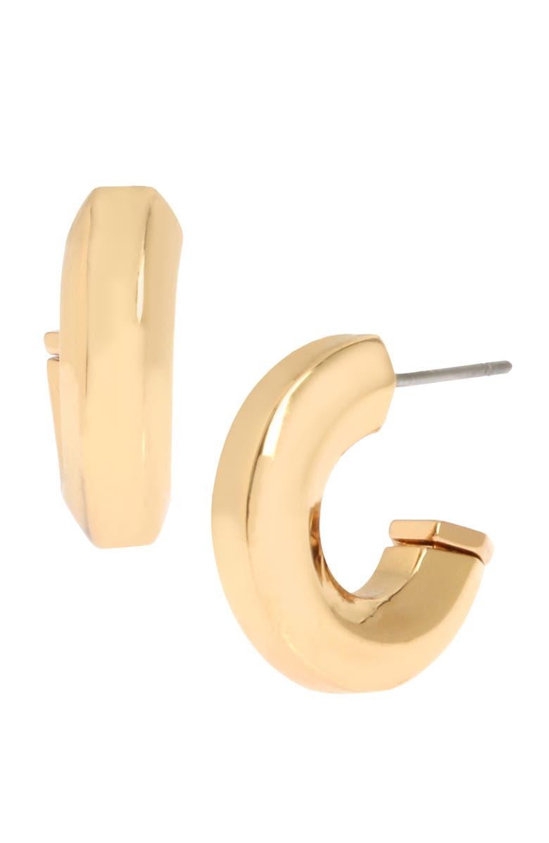 ALLSAINTS Hexagon Bypass Huggie Hoop Earrings, Main, color, GOLD