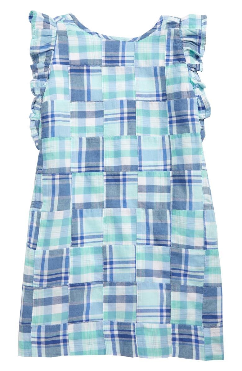 VINEYARD VINES Madras Flutter Sleeve Plaid Dress, Main, color, 400