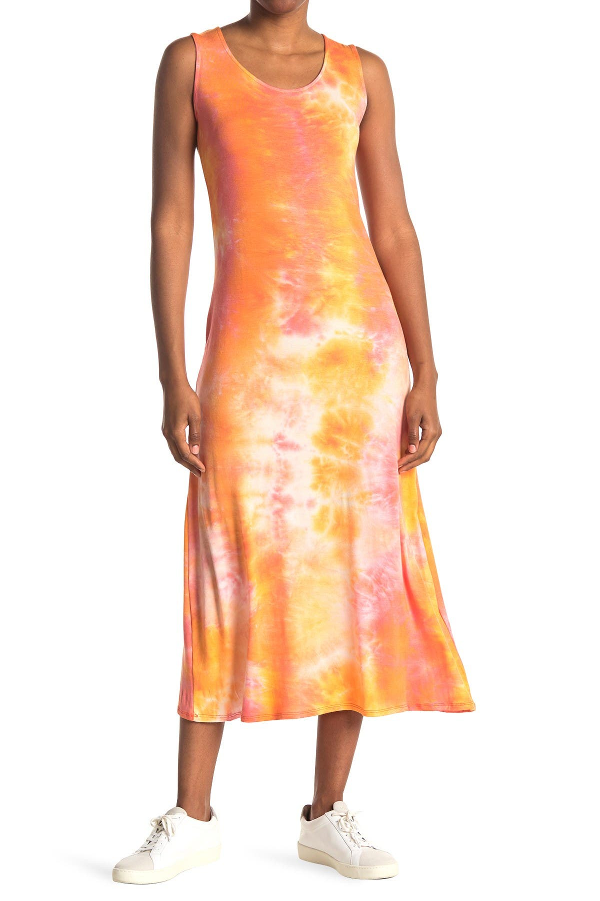 Image of TASH + SOPHIE Tie-Dye Scoop Neck Sleeveless Midi Dress