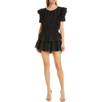 Loveshackfancy Natasha Ruffle Tiered Minidress, Black