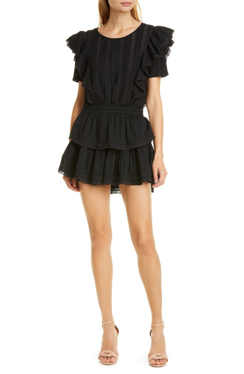 LOVESHACKFANCY Natasha Ruffle Tiered Minidress, Main, color, BLACK