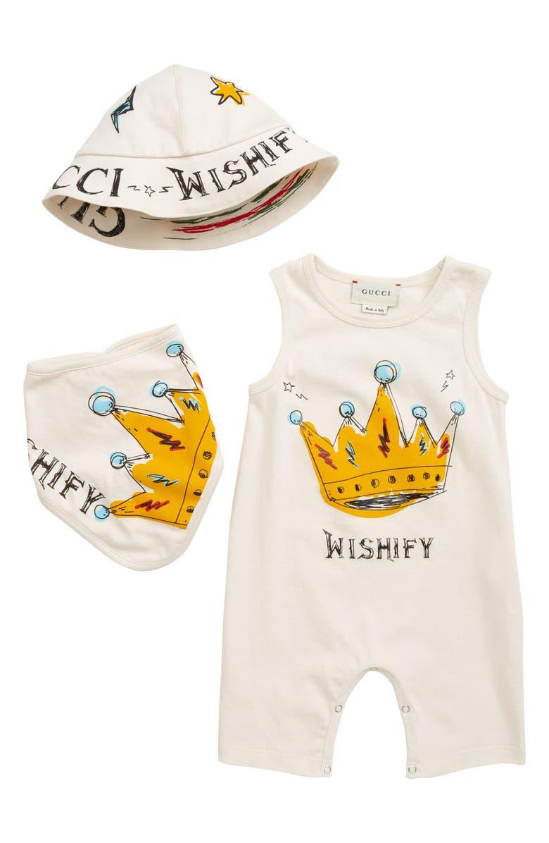 fd6cb85f Gucci Romper, Bandana Bib & Bucket Hat Gift Set (Baby) | Nordstrom