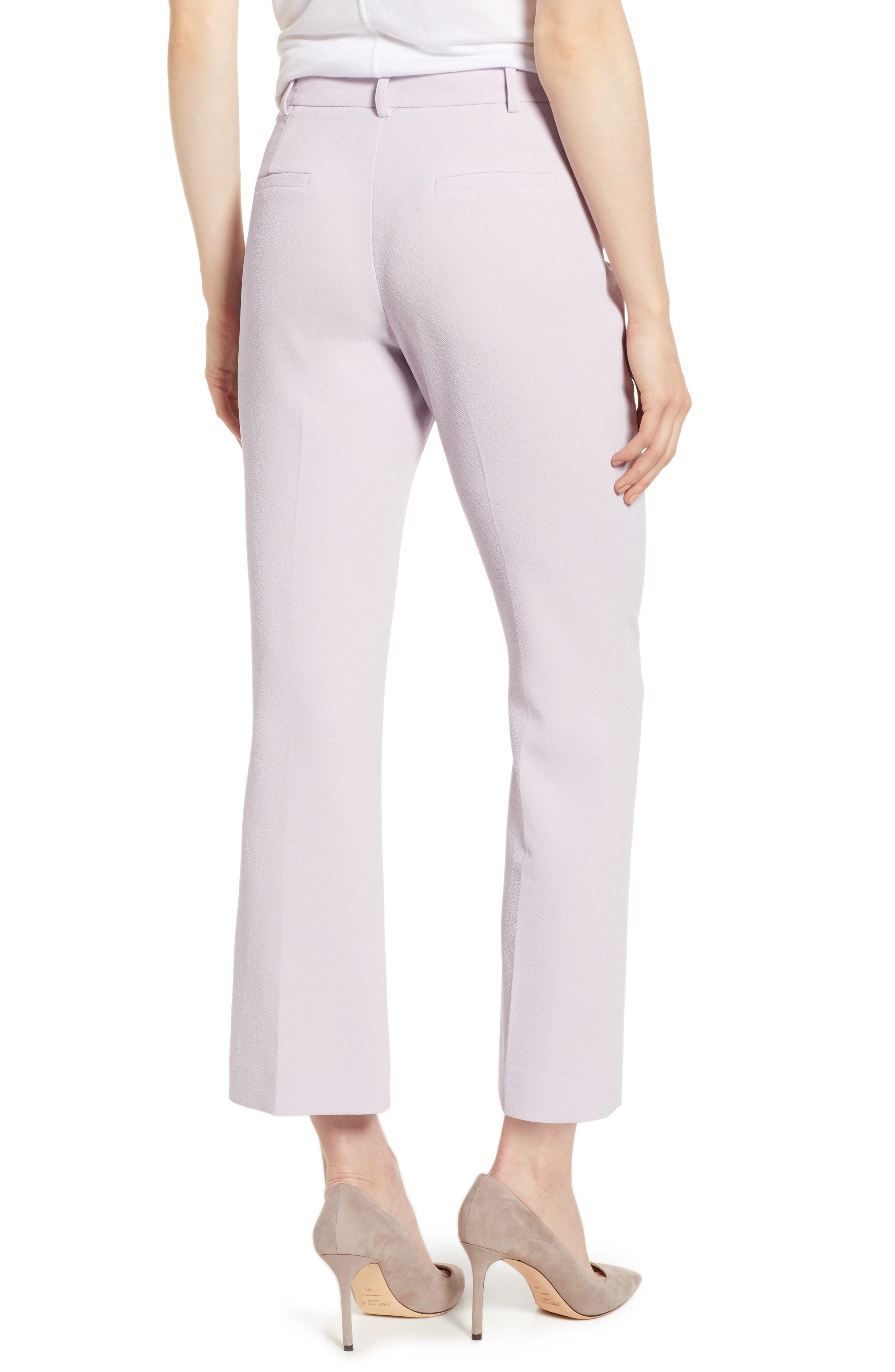 ,                             Crepe Kick Flare Ankle Pants,                             Alternate thumbnail 2, color,                             ORCHID BUD