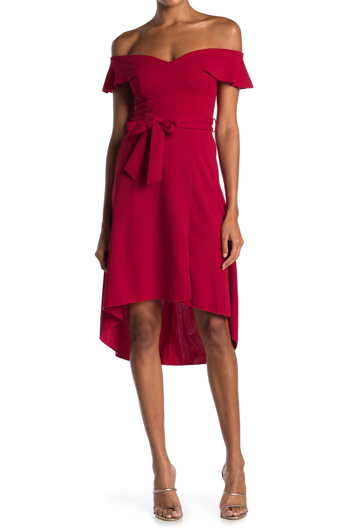 Image of Love, Nickie Lew Off-the-Shoulder High/Low Ruffle Hem Midi Dress
