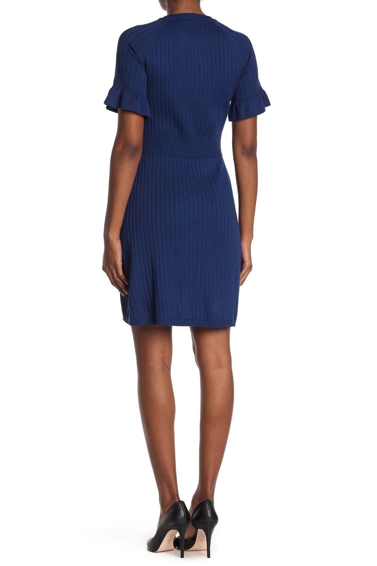 Image of Calvin Klein Ribbed Ruffle Sleeve Sweater Dress