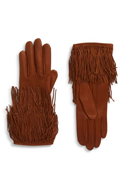 Agnelle Fringed Lambskin Gloves In Toscana