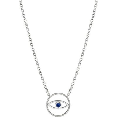 Sheryl Lowe Evil Eye Sapphire & Diamond Pendant Necklace