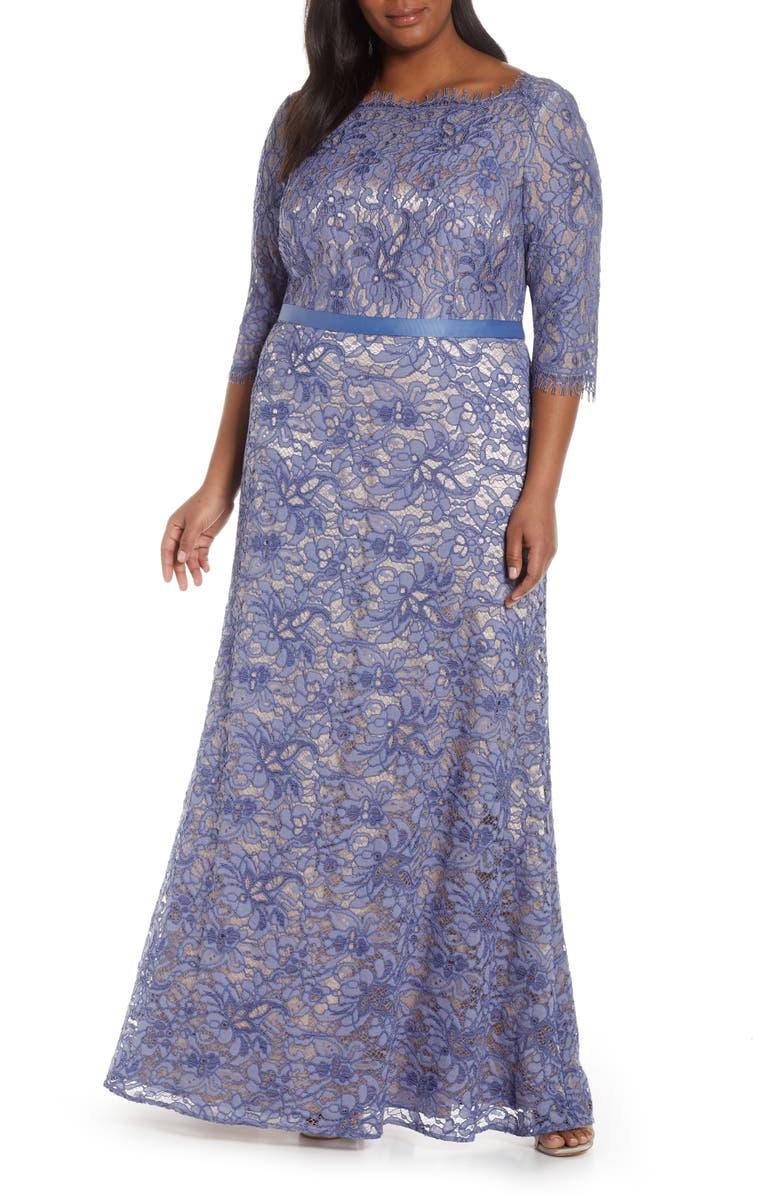 JS COLLECTIONS Bateau Neck Lace Gown, Main, color, PERIWINKLE NUDE
