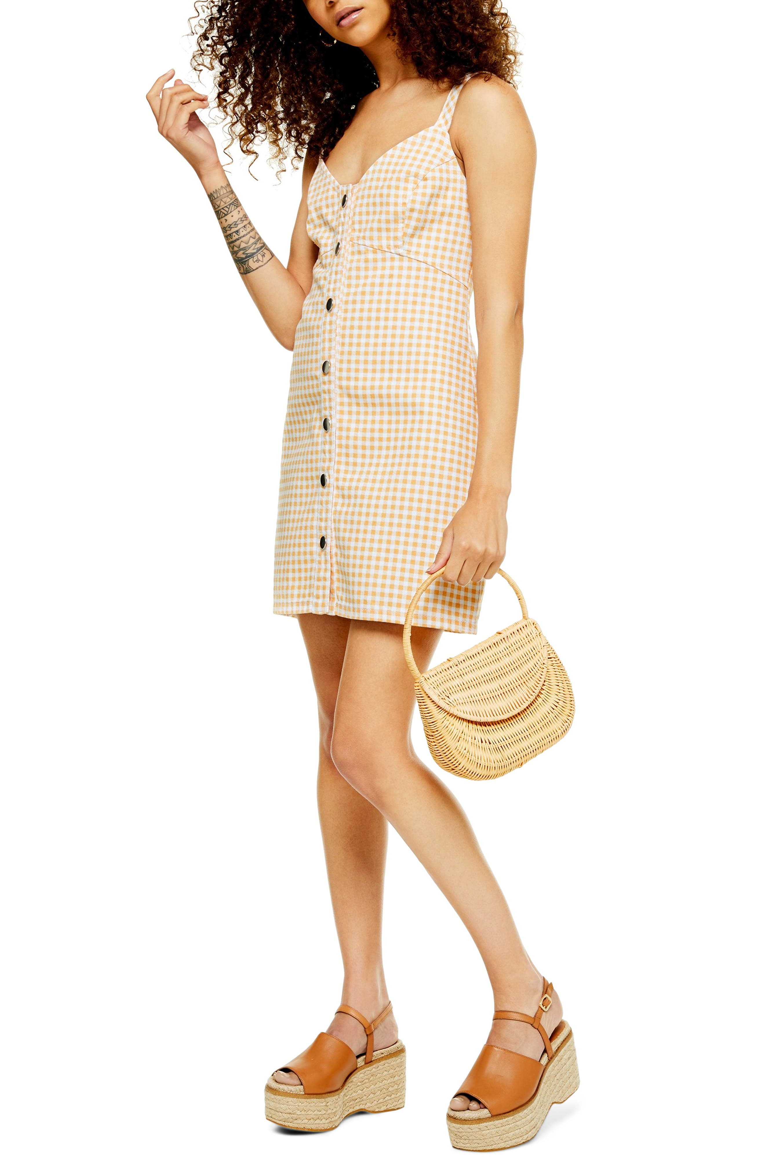 Petite Topshop Gingham Sleeveless Denim Minidress, P US (fits like 0P) - Yellow