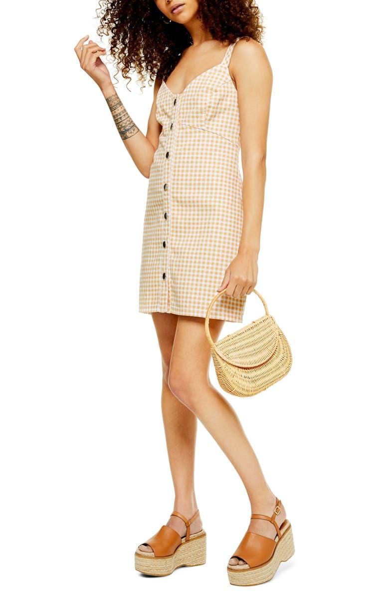 TOPSHOP Gingham Sleeveless Denim Minidress, Main, color, YELLOW MULTI