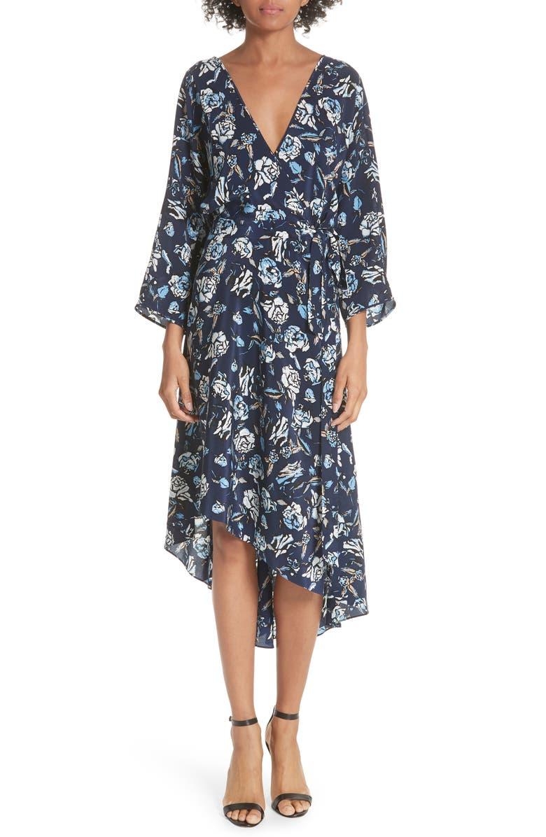DVF Silk Asymmetrical Ruffle Hem Dress, Main, color, 416