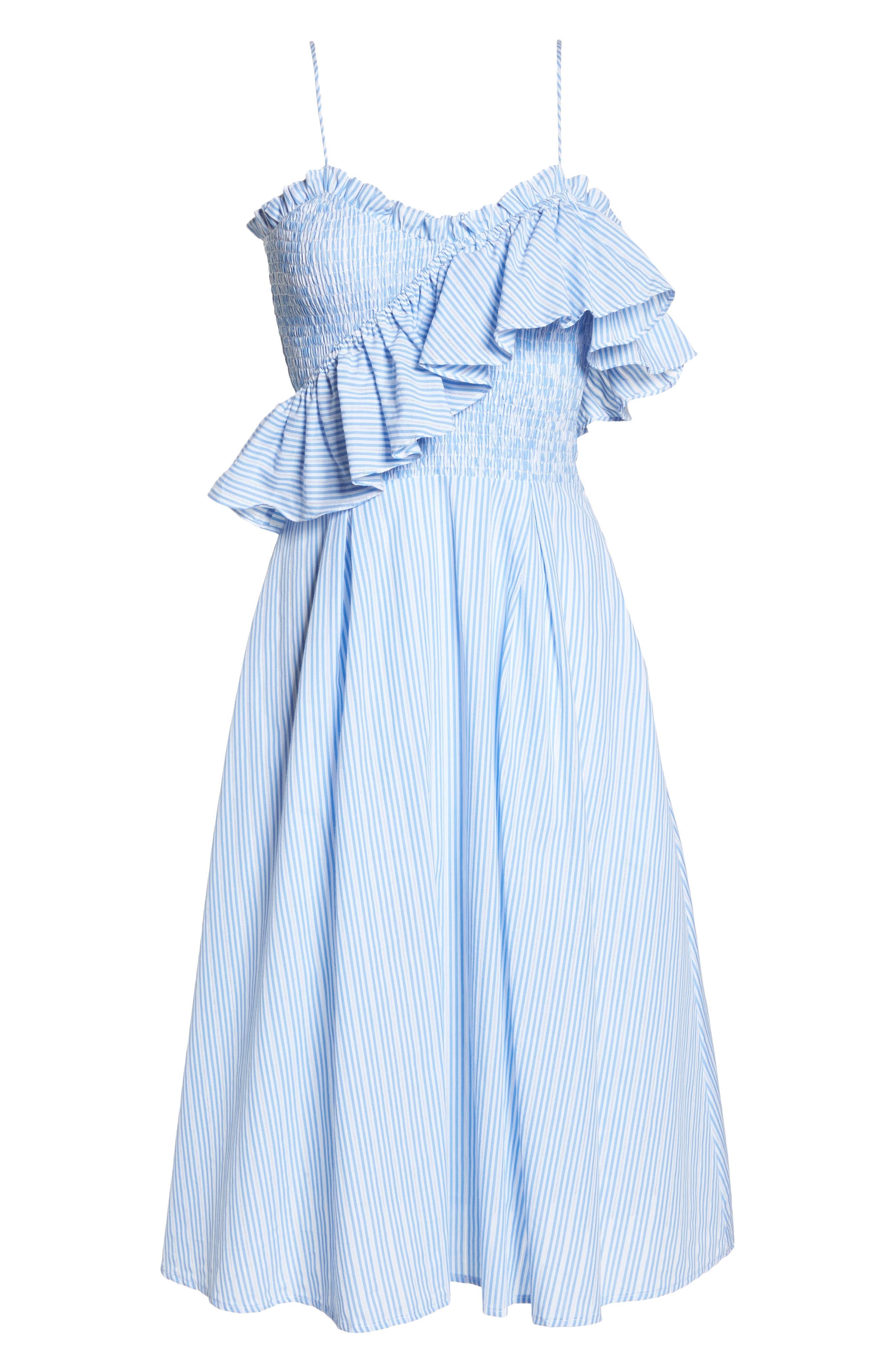 ,                             Stripe Poplin Fit & Flare Dress,                             Alternate thumbnail 7, color,                             400