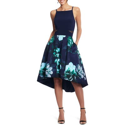 Xscape Floral High/low Cocktail Dress, Blue